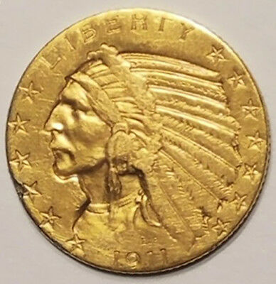 1911 Gold United States $5 Dollar Indian Head Half Eagle Coin