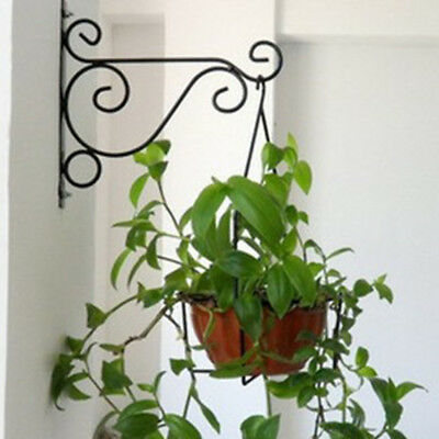 Vintage Iron Wall Mount Bracket Hook Flower Pot Hanger Bird Feeder Holder Useful