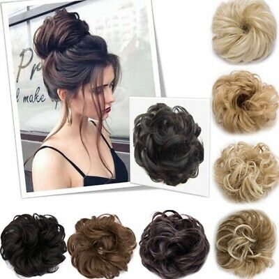 Women Hair Extensions Wavy Curly Synthetic Hair Bun Updo Wig Hairpiece Scrunchie