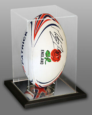 Martin Johnson Signed England Rugby Ball Presented In An Acrylic Case : New
