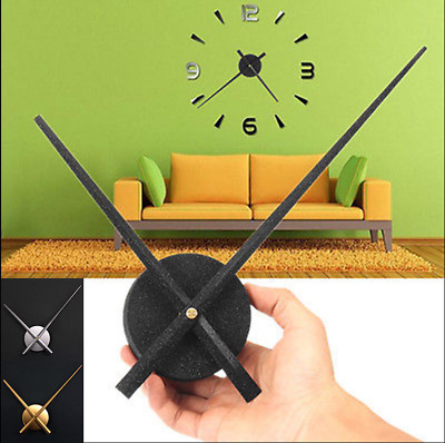 Large Metal DIY Silent Sweep Non Ticking Big Wall Clock Hour Minute Hand Set