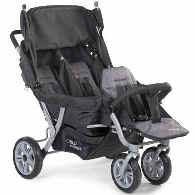 CHILDWHEELS Triplet Stroller Anthracite Pram Pushchair Baby Cart Buggy CWTRIP