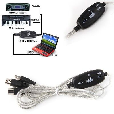 Midi USB Cable Converter Lead Adaptor Keyboard Interface to PC for Windows Mac
