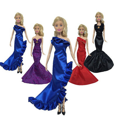 Fashion Ruffle Wedding Party Gown Mermaid Dresses Clothes For Barbie Doll WH