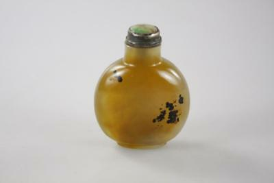 ANTIQUE CHINESE CARVED AGATE MOSS SNUFF BOTTLE with JADEITE SILVER STOPPER LID
