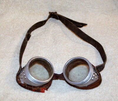 Old Motor Cycle / Welding / Safety Glasses - Original Strap & Padding