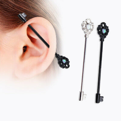 316L Surgical Steel Industrial Barbell Ear Piercing Ring Stud Cartilage Jewelry