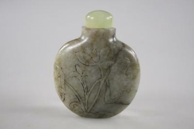 Antique Chinese Hand Carved Jade Snuff Bottle With Jade Stopper