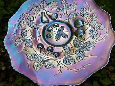 """Delicious!   Amethyst-- Three Fruit-9 """"- Carnival Glass Plate."""