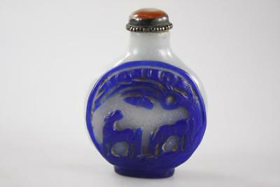 Antique Chinese Peking Glass Blue White Hand Carved Snuff Bottle Silver Agate
