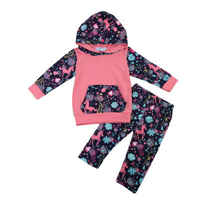 Cute Baby Boy Girl Hoodies Sweatshirt+Pants 2PCS Outfits Autumn Clothes Set 0-3Y