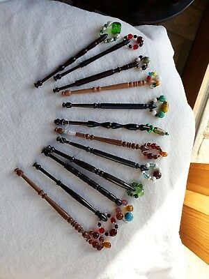 12 Lace Making Bobbins With Spangles   Y