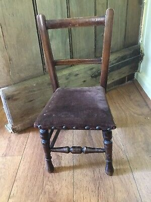 "Antique Childs/Large Dolls Ladderback Chair Studded Padded Velvet Seat 18"" High"
