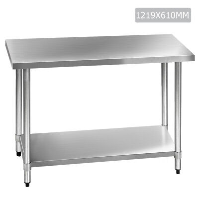 Cefito 1219x610mm Commercial 430 Stainless Steel Kitchen Bench Food Prep Table