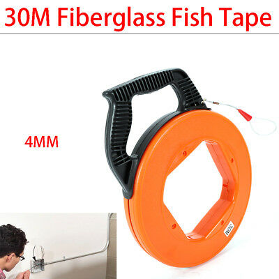 100FT Nylon Fiberglass Cable Puller Fish Tape Reel Conduit Wall line Cable 4mm