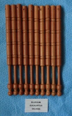 10 lace making bobbins   (BLUE GUM)