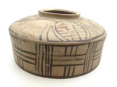INDUS VALLEY TERRACOTTA JAR W/ GEOMETRIC MOTIF - RARE ARTIFACT LOVELY - l582