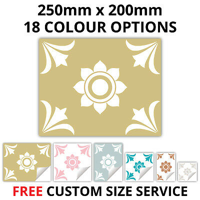Tile Stickers For Kitchen Bathroom 250mm x 200mm 18 Colours - Custom sizes - T19