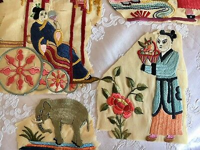7 Antique Silk Piano Shawl Fragment Embroidered Figures For Projects Appliqués