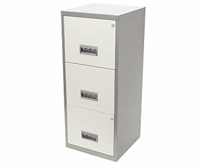 Pierre Henry A4 3 Drawer Maxi Filing Cabinet Silver and White - Color: ...