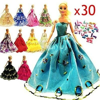 10 Pcs Handmade Fashion Wedding Party Gown Dresses And Clothes Shoes For Barbie