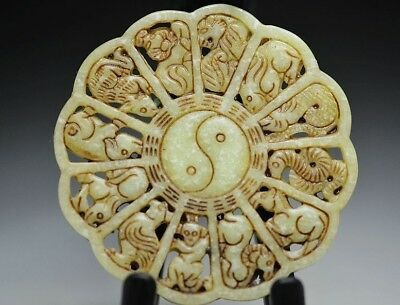 Exquisite Chinese Hand Carving Beautiful Jade Chinese Zodiac Pendant Re03
