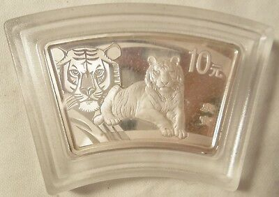 China 2010 Year of the Tiger Fan-shaped 1oz Silver Coin  NO PAPER WORK