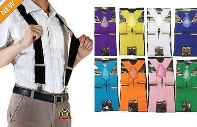 "50MM 2"" Plain colour Mens Braces Suspenders Heavy Duty Adjustable Unisex Elastic"