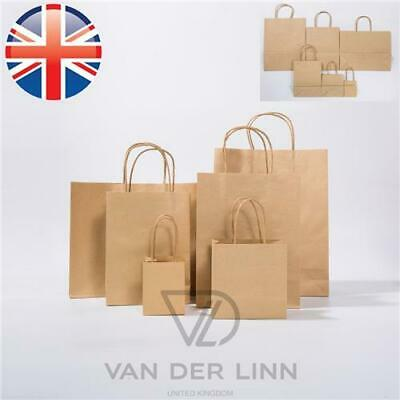 *UK Seller* 6 Sizes Brown Paper Kraft Loot Bag Handle Gift Carrier Wedding Party