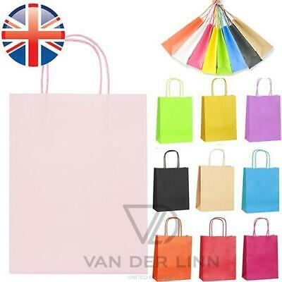 *UK Seller* Paper Kraft Loot Bags Handles Gift Carrier Wedding Party 21x11x27cm