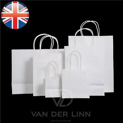 *UK Seller* 6 Sizes White Paper Kraft Loot Bag Handle Gift Carrier Wedding Party
