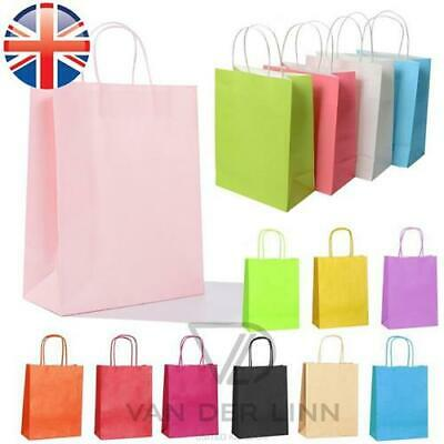 *UK Seller* Paper Kraft Loot Bags Handles Gift Carrier Wedding Party 17x8x23cm