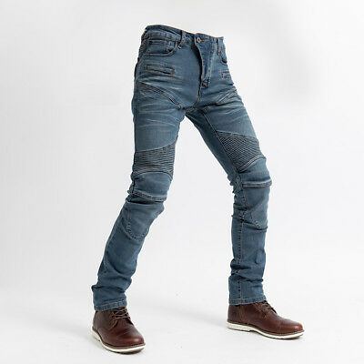 Mens Denim Motorcycle Motorbike Work Cargo Trousers Jeans With Protection Lining