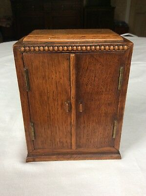 Apprentice Piece Miniature Wardrobe Treen Wood Oak Vintage 1940s/50s Exceptional