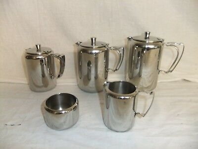 C4 Stainless Steel Old Hall - teapot 2pt 1pt, milk jug, sugar bowl NEW - R11