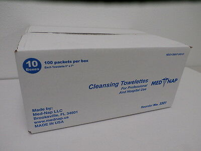 (1000) Cleansing Wipe Towelette  First Aid 10 x 100 / Box Med-Nap # 3301