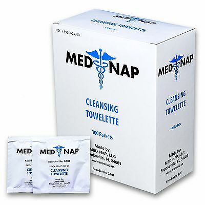 (100) Cleansing Towelettes Med-Nap #3301