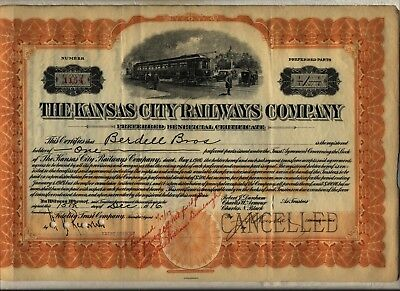 1916 Kansas City Railways Company Stock Certificate