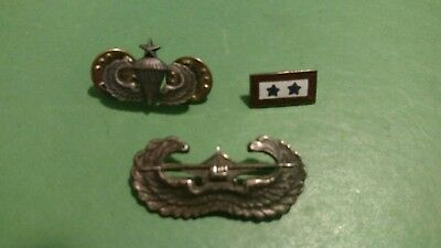 WWII  Sterling US Army Glider Badge Wings Airborne, Sterling 2 Stars, Other