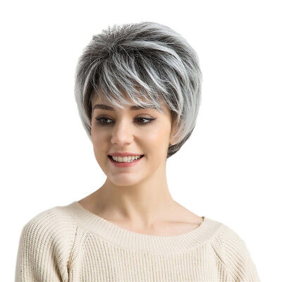 Short Wigs for Women Cosplay Party Heat-Resistant Synthetic Wigs Ombre Gray