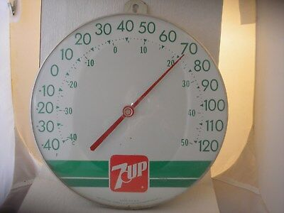 """7 Up Round Thermometer, Good Condition, 12"""""""