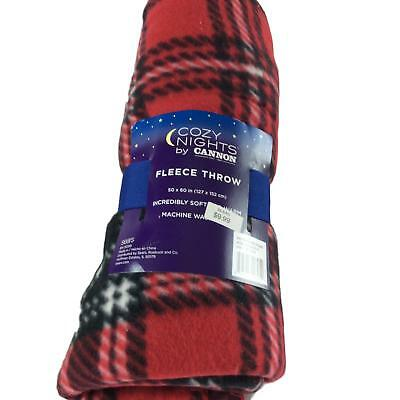 Cozy Nights By Cannon Fleece Throw Blanket Red Plaid 50x60 In