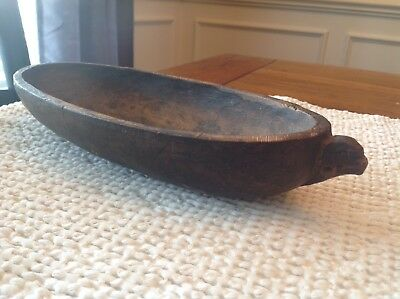 Early Antique Native American Indian Hand Hewn Wood Carved Bowl. Animal Effigy