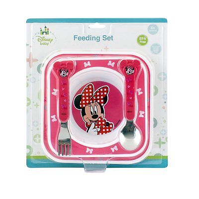 Disney Baby Minnie Mouse Feeding Gift Set Plate Bowl Cutlery 12M+ BPA Free