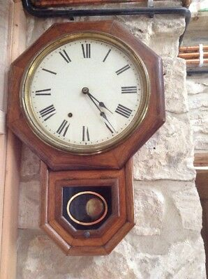 Old American Seth Thomas Regulator Type 8 Day Drop Dial Striking Wall Clock
