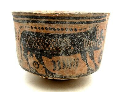 Indus Valley Terracotta Bowl W/ Monkey Motif - Rare Artifact Lovely - L595