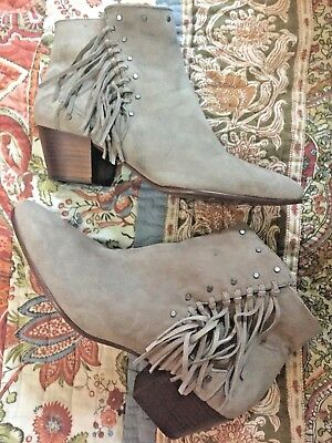4248b0712 NEW Sam Edelman  Rudie  Studded Fringe Ankle Boot Taupe Putty Suede Women  ...