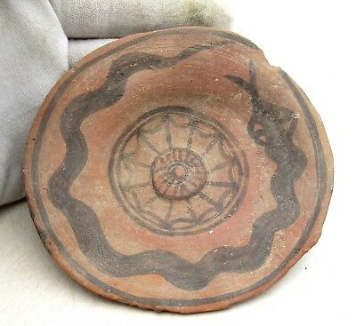 Ancient Indus Valley Terracotta Bowl W/ Snake - Rare Artifact Lovely - L596