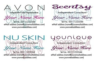 Business cards 100 personalised younique nu skin avon scentsy business cards 100 personalised younique nu skin avon scentsy representatives reheart Images