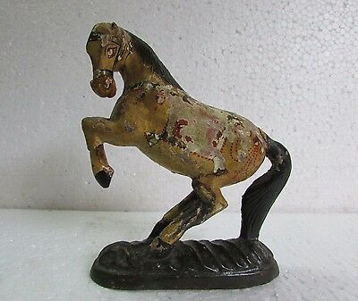 1950's Vintage Old Handcrafted Painted Fine Carved Wooden Horse Statue Rare